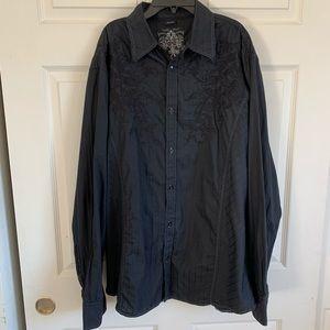ROAR Black Heavy Embroidery Eternal L/S Shirt XXL